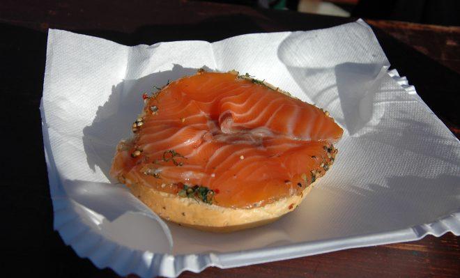 Tostada de salmón. Bergen.