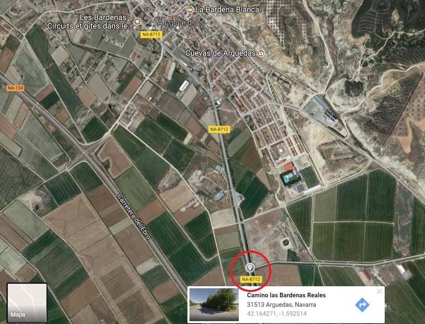 Localización de la entrada a las Bardenas