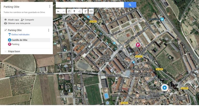 Mapa del parking de Olite