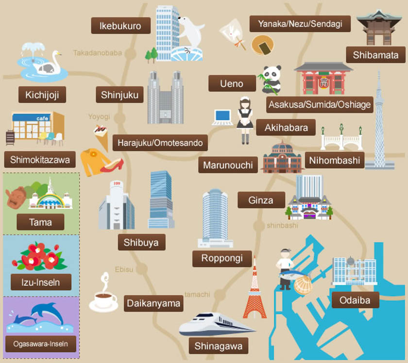 Mapa con los barrios de Tokio