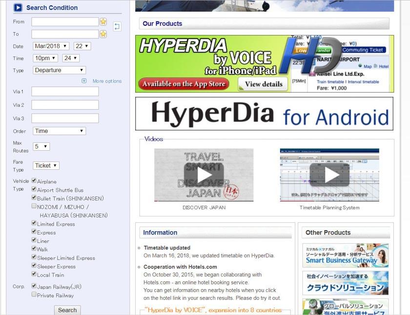 Deshabilitando opciones en Hyperdia