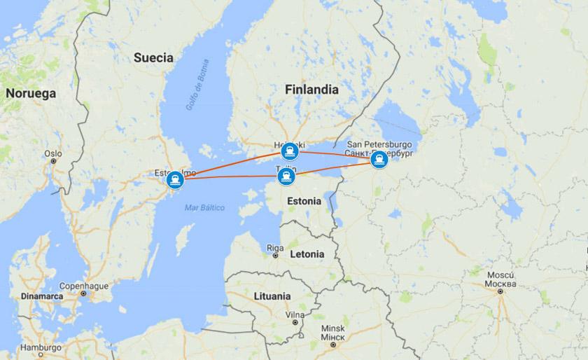Esta será la ruta en nuestro crucero por el Mar Báltico