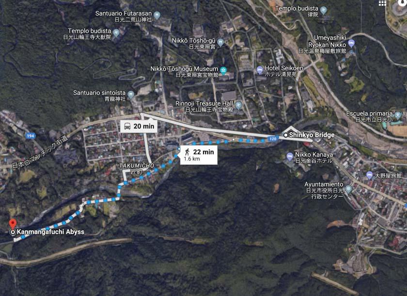Plano de google para llegar al inicio del sendero de Kanmangafuchi