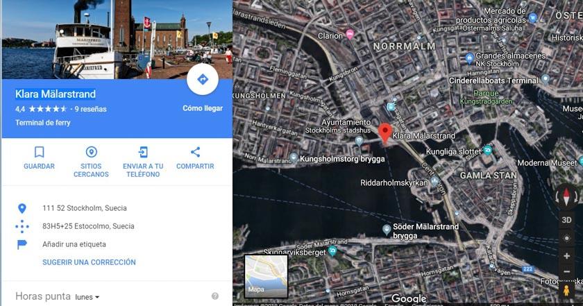 Localización del muelle con el barco que va a Sigtuna