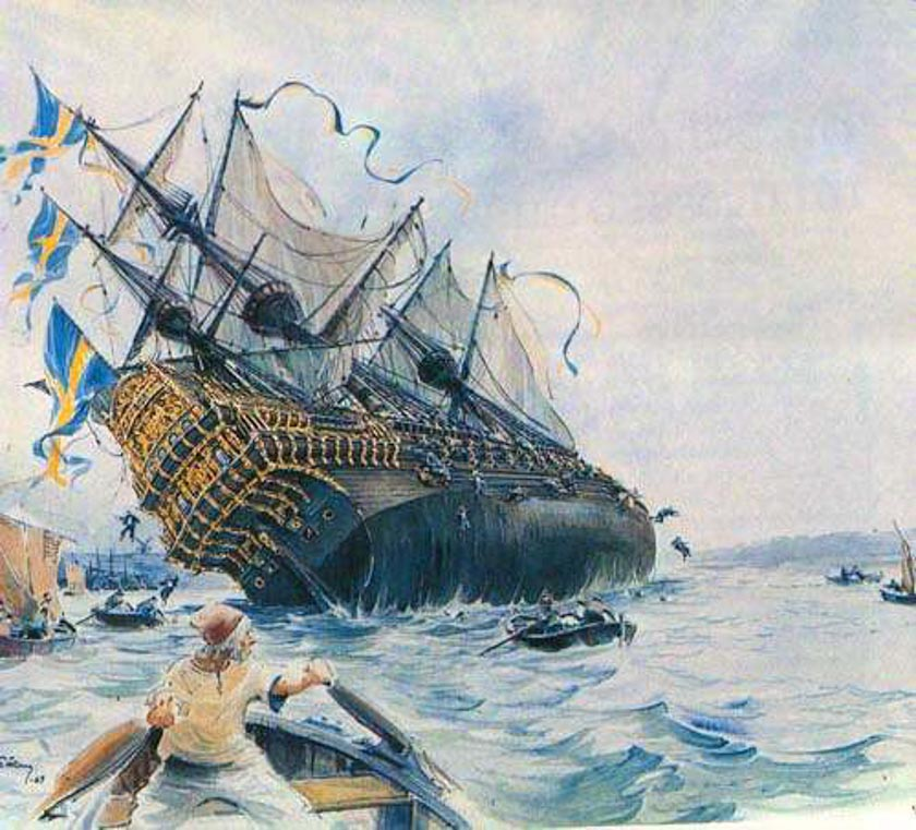Antigua pintura del hundimiento del Vasa