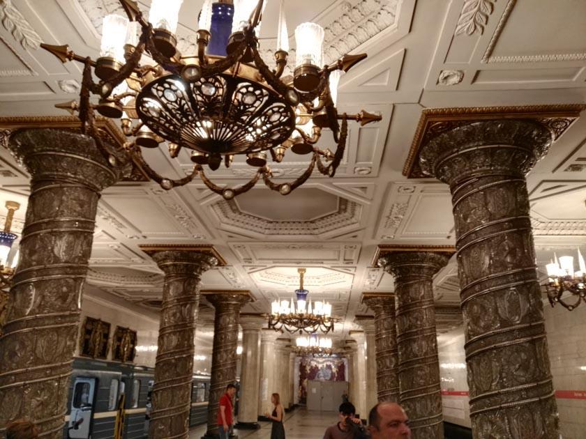 Una de las paradas del metro de San Petersburgo