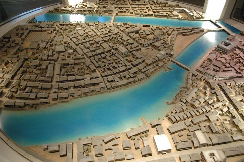 Maqueta que muestra el estado de Hiroshima antes de la caída de la bomba