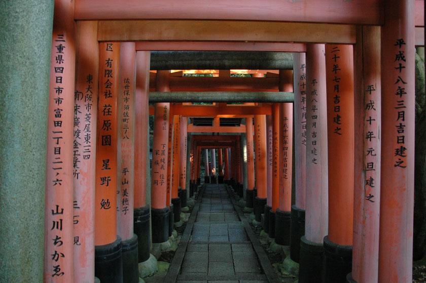 Pasillo de toriis en Fushimi Inari
