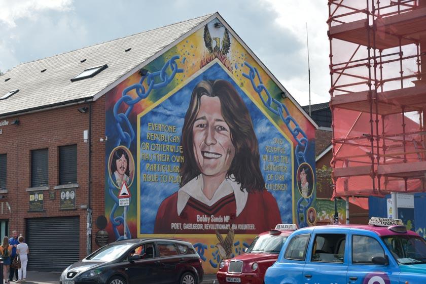 Famoso mural del líder del IRA Bobby Sands