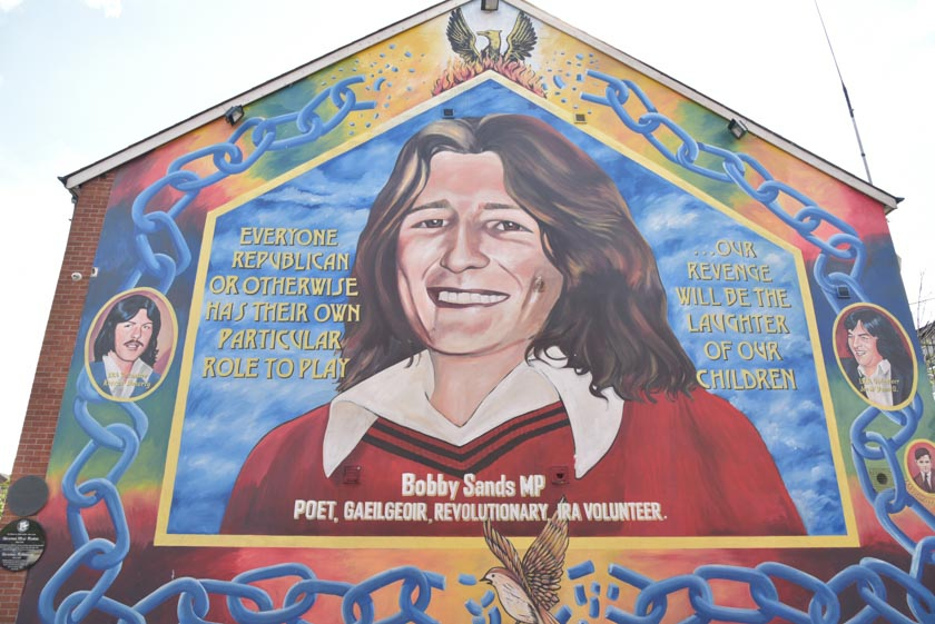 Otra perspectiva del mural de Bobby Sands