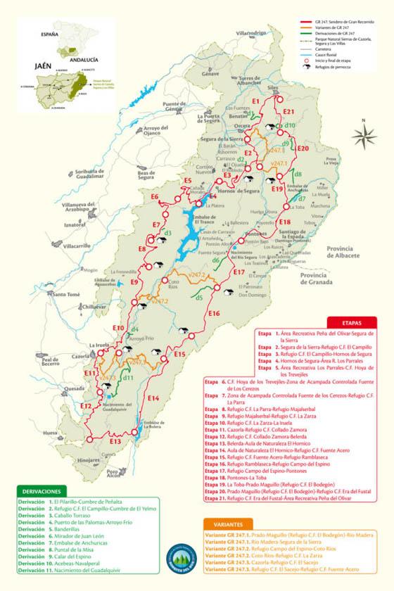 Mapa con todas las rutas del sendero GR247