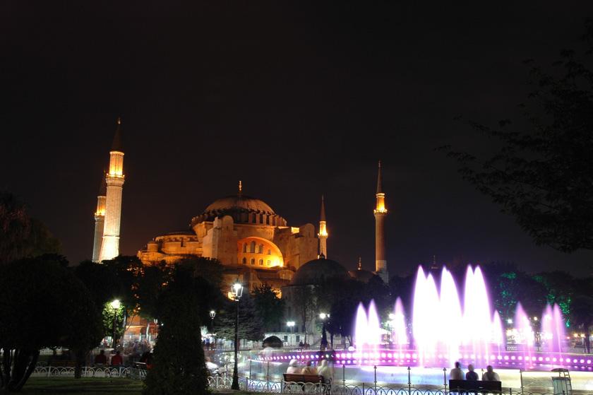 Bella estampa de Santa Sofía por la noche