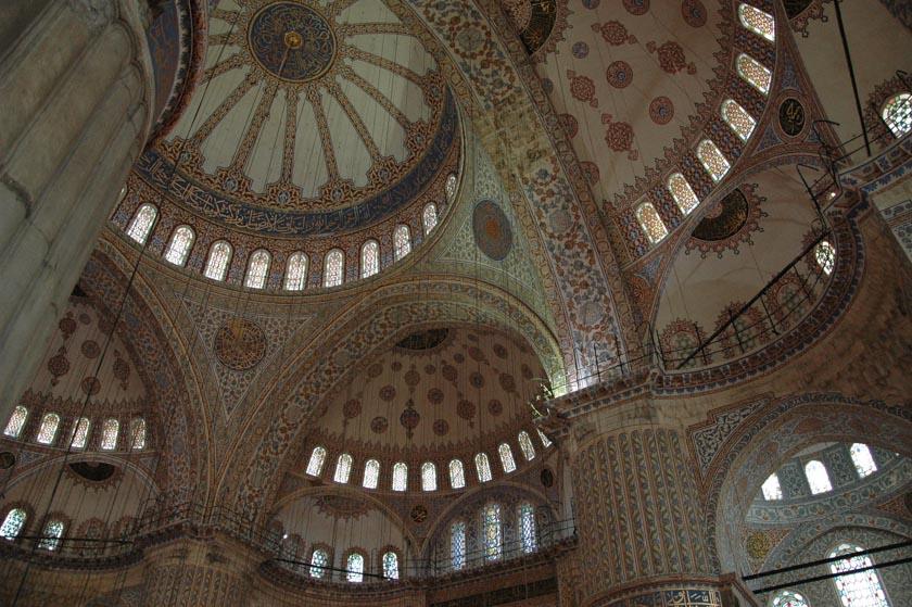 Detalles del interior de la Mezquita Azul